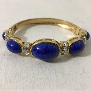 Jewelry - Unsigned Dior Style Lapis Glass Hinged Bracelet